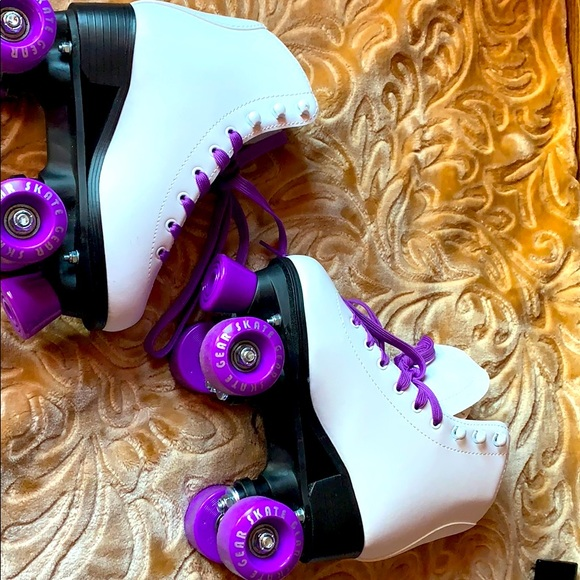 I am selling white and purple roller skates